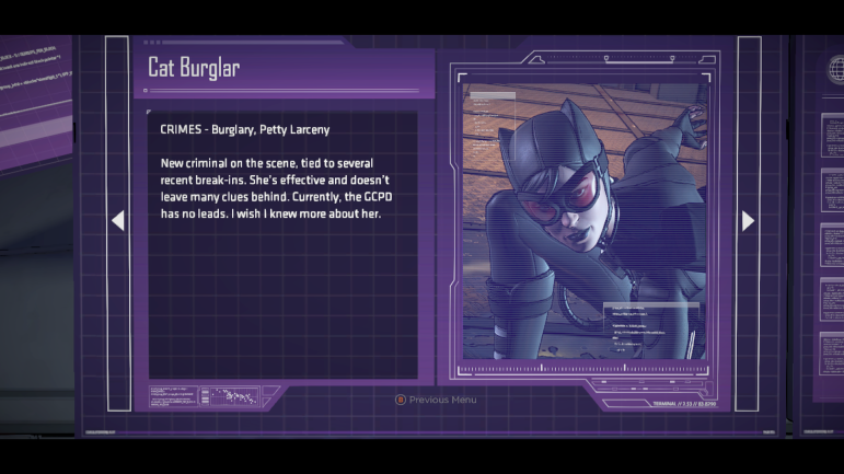 A codex is available in the game, and while it'll obviously get more robust with entries, I hope the current ones get updated as Bruce learns more about the people in his life.