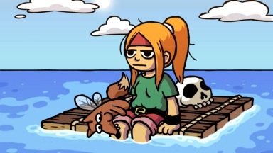 When you're bored floating on a makeshift raft, you chew on your pal's leg.