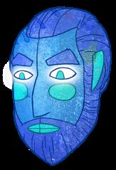blue-man-face-slam-land